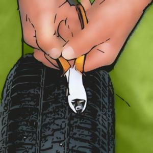 réparer un pneu , localiser le trou dans le pneu